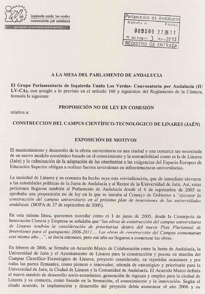 IU-LV-CA registra una proposición no de ley sobre el campus de Linares