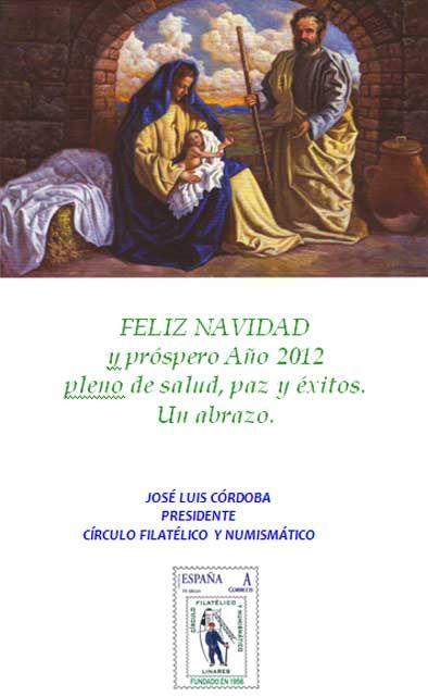 Felicitación del Círculo Filatélico y Numismático de Linares
