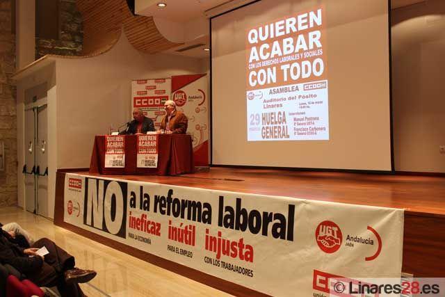 CCOO y UGT informan en Linares sobre la reforma laboral y la huelga general