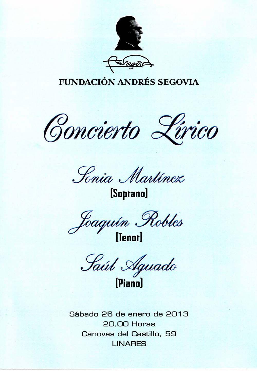 Concierto Lírico en la Fundación Andrés Segovia