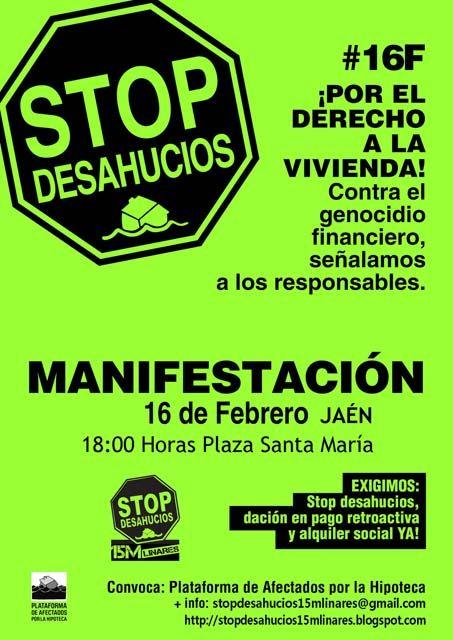 """Stop Desahucios 15M Linares llama a la movilización contra el """"genocidio financiero"""""""