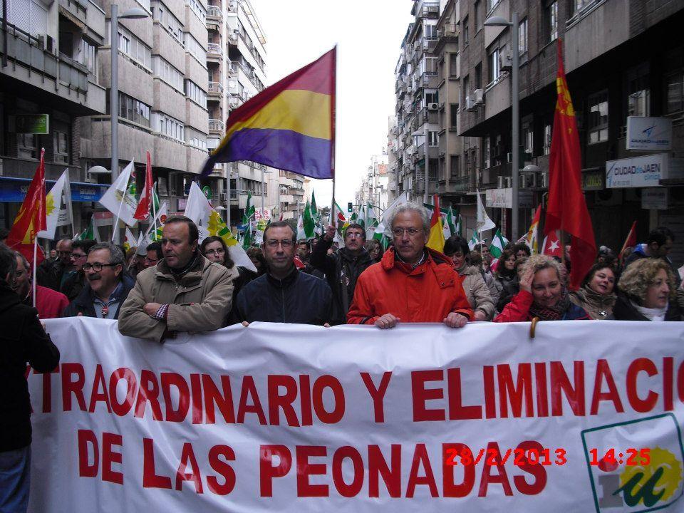 Izquierda Unida en la manifestación del 28F en Jaén