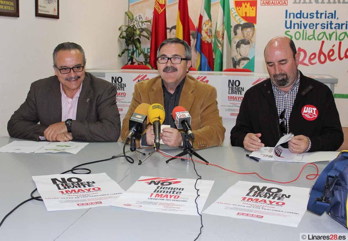 """IU, UGT y CCOO llaman a los linarenses a la participación en la manifestación del """"Primero de Mayo"""" en Jaén"""