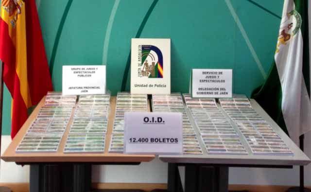 Decomisan 12.400 boletos de una lotería ilegal a una organización de discapacitados en Linares
