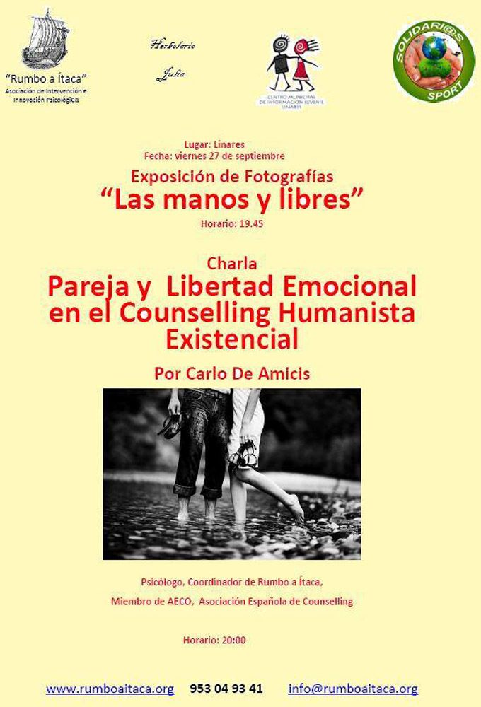 """Preparan una charla sobre """"Pareja y Libertad Emocional en el Counselling Humanista Existencial"""""""