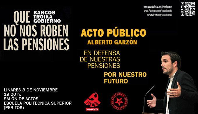 Acto público de Alberto Garzón en Linares