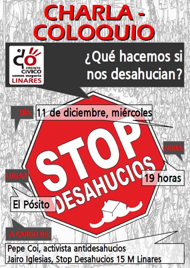 El Frente Cívico de Linares organiza una charla sobre los desahucios