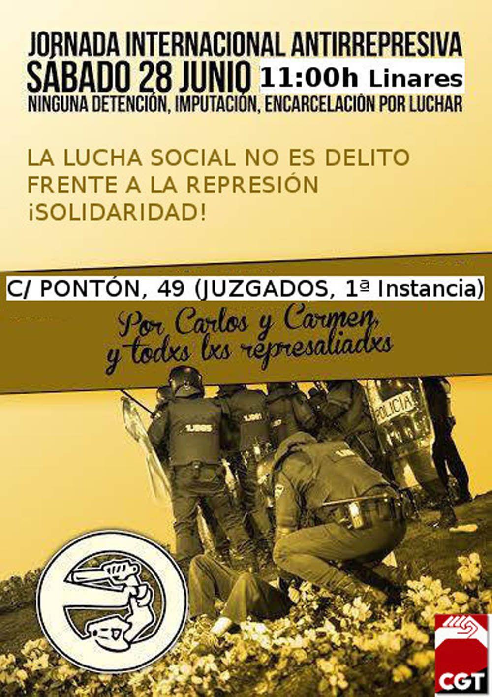 CGT organiza una concentración a las puertas de los Juzgados de Linares