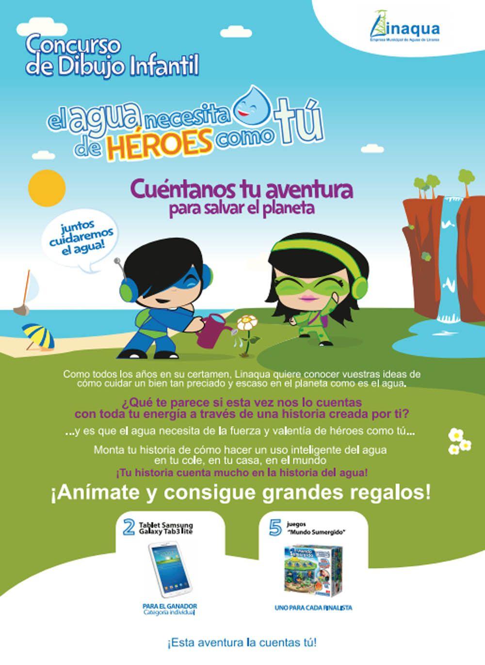 Una nueva edición del Concurso Infantil de  Linaqua invita a los niños hacer un dibujo para  salvar el planeta