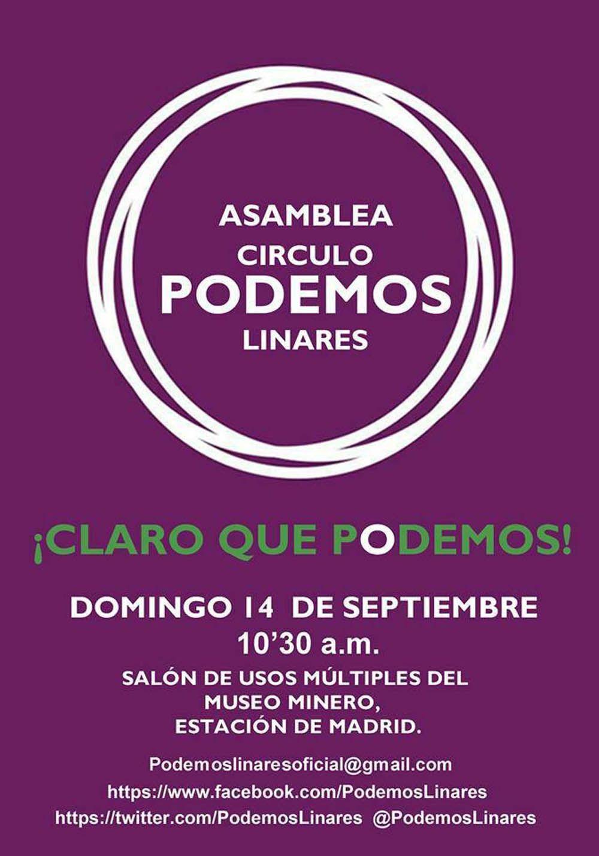 Podemos Linares celebra una asamblea este domingo