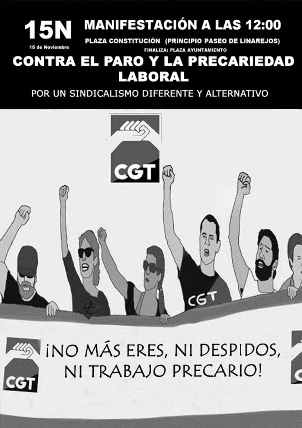 CGT convoca para mañana una manifestación en Linares
