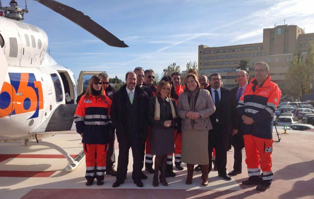 Inauguran el helipuerto del 061 en el Hospital de Linares