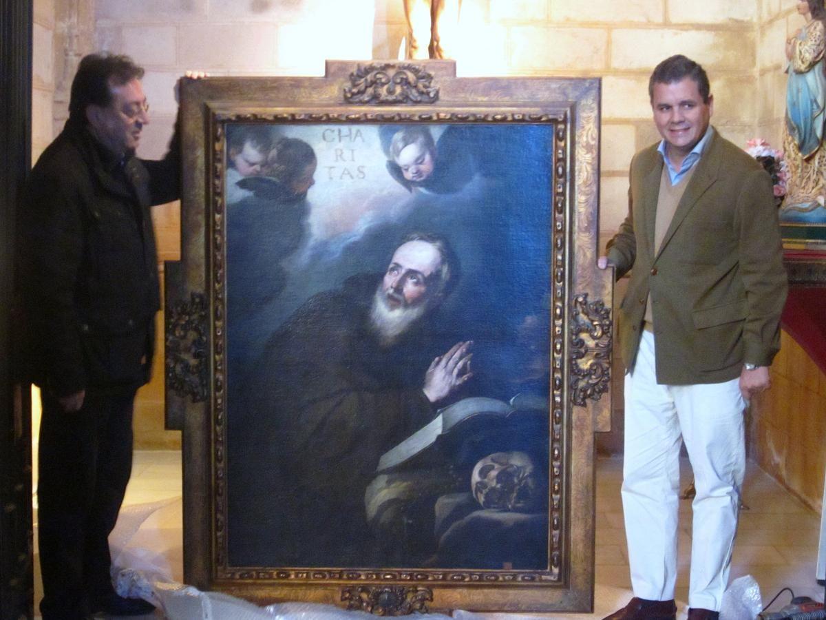 Instalado un cuadro napolitano del siglo XVII en la iglesia de Santa María