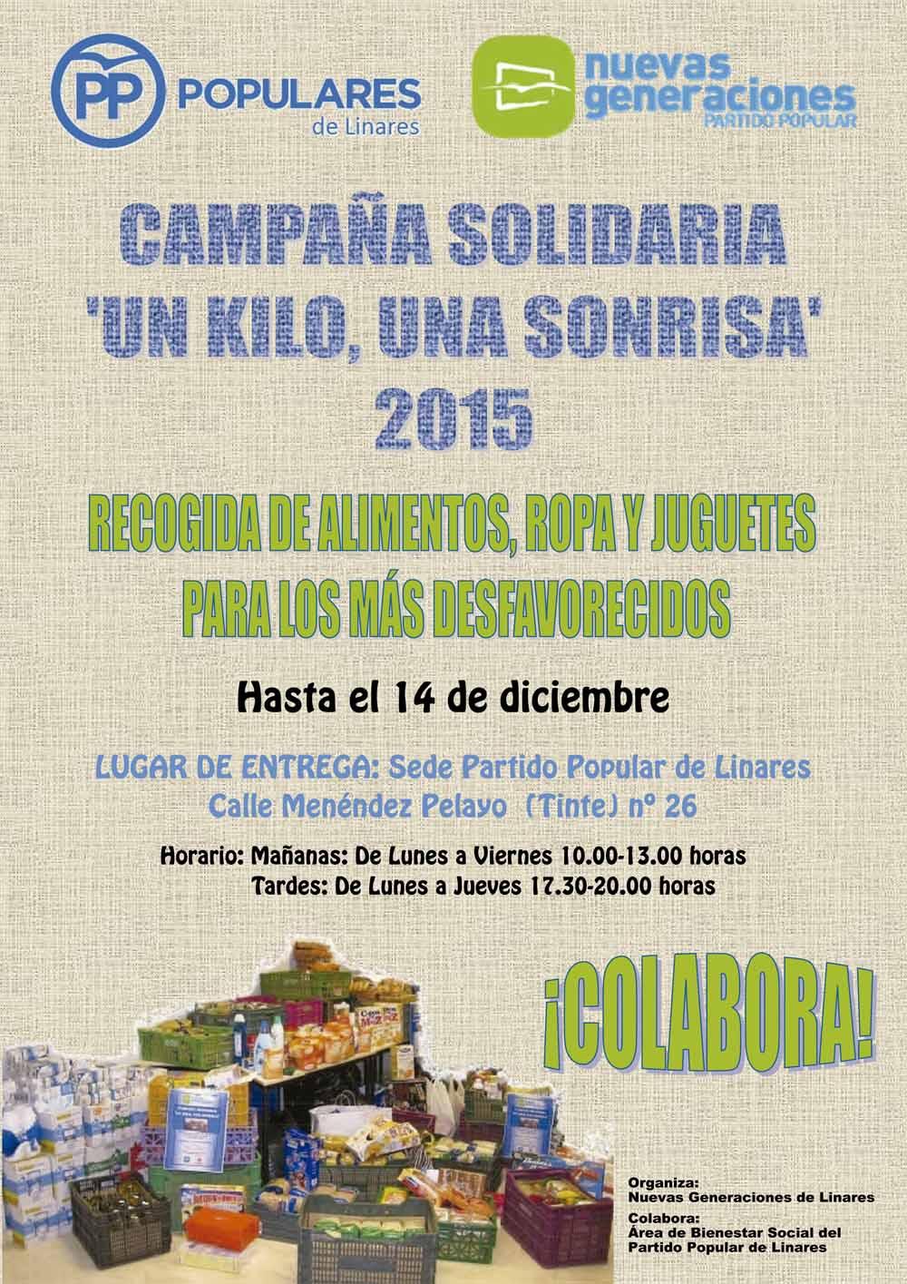 Nuevas Generaciones y el Área de Bienestar Social del Partido Popular de Linares ponen en marcha la campaña 'Un kilo, una sonrisa 2015'