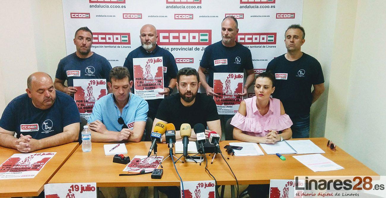 """CCOO convoca una """"gran manifestación"""" por el empleo en Linares"""