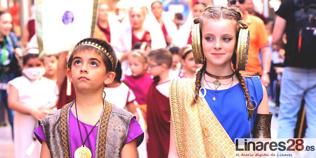 Los más pequeños protagonistas en la mañana del viernes en las Fiestas Íbero Romanas de Cástulo