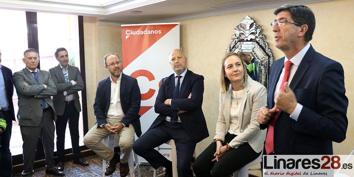 """Juan Marín desde Linares: """"Mientras Sánchez nos lleva a dos elecciones, en Andalucía sacamos dos presupuestos y la ITI para Jaén"""""""