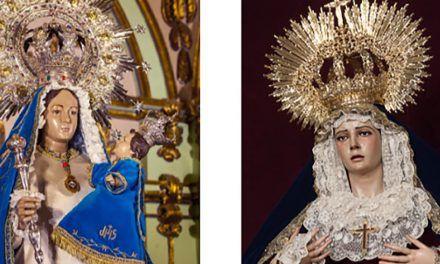El pañuelo de la Virgen de las Penas de Sevilla en manos de nuestra Virgen de Linarejos